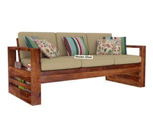 Winster 3 Seater Wooden Sofa (Teak Finish)