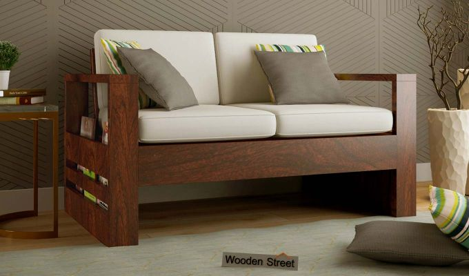 Winster 2 Seater Wooden Sofa (Walnut Finish)-1