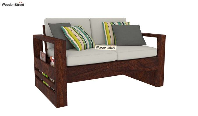 Winster 2 Seater Wooden Sofa (Walnut Finish)-2