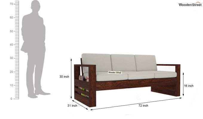 Winster Wooden Sofa 3+1+1 Sets (Walnut Finish)-8