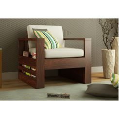 Winster 1 Seater Wooden Sofa (Walnut Finish)