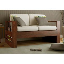 Winster 2 Seater Wooden Sofa (Walnut Finish)