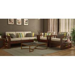 Winster Wooden Sofa 3+1+1 Sets (Walnut Finish)