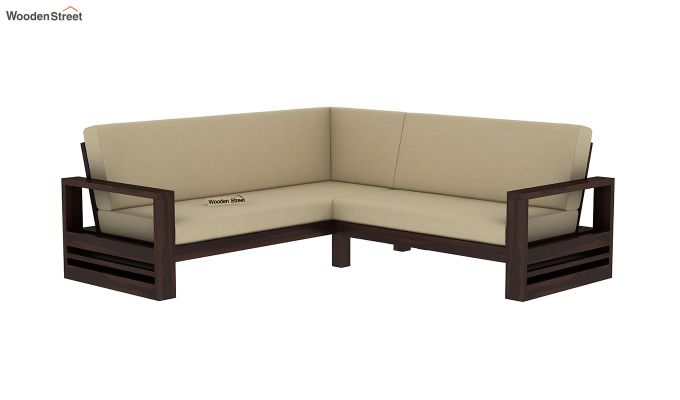 Winster L-Shaped Wooden Sofa (Irish Cream, Walnut Finish)-2