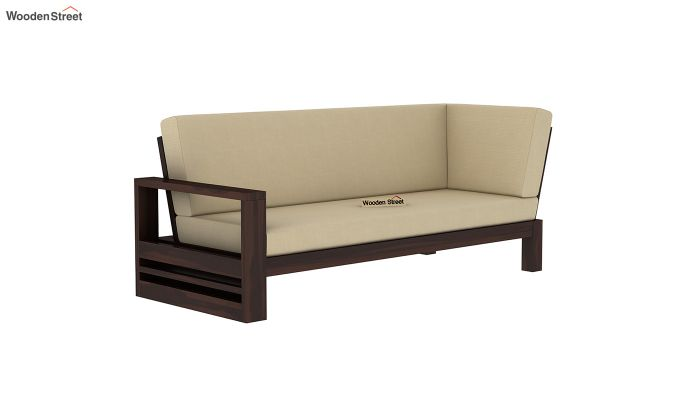 Winster L-Shaped Wooden Sofa (Irish Cream, Walnut Finish)-6