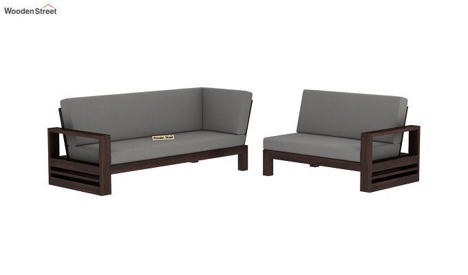 Winster L-Shaped Wooden Sofa (Warm Grey, Walnut Finish)-3