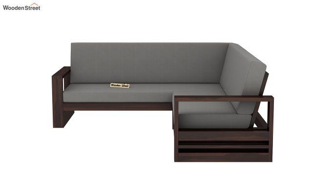 Winster L-Shaped Wooden Sofa (Warm Grey, Walnut Finish)-4