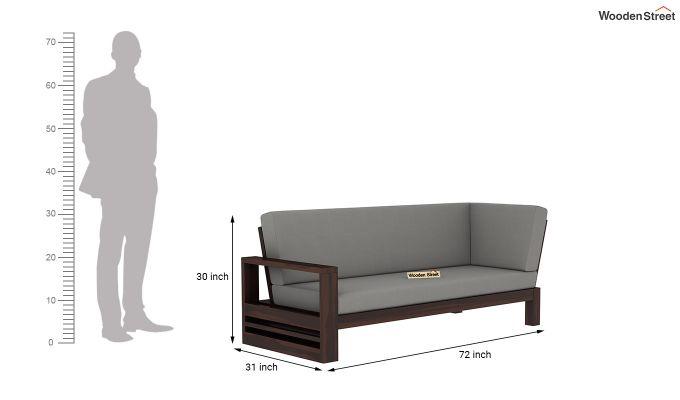 Winster L-Shaped Wooden Sofa (Warm Grey, Walnut Finish)-9