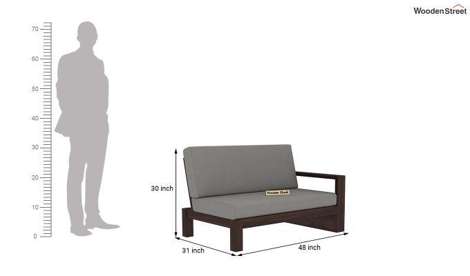 Winster L-Shaped Wooden Sofa (Warm Grey, Walnut Finish)-10