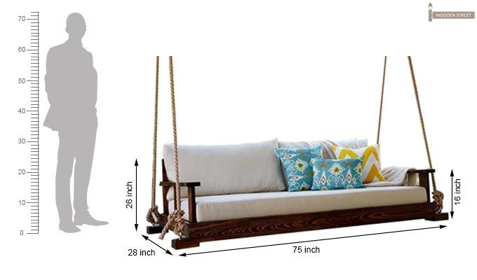 Advil Wooden Swing Chair (Mahogany Finish)-4