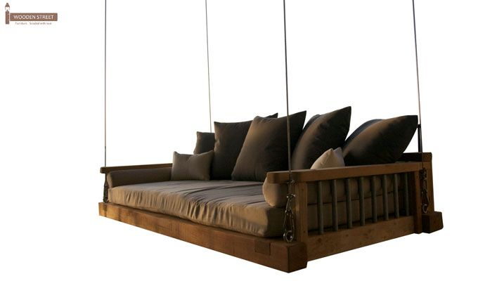 Worley Wooden Swing Chairs (Honey Finish)-2