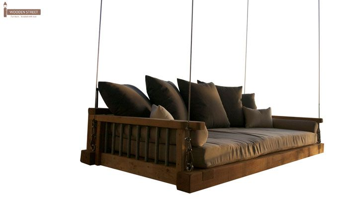 Worley Wooden Swing Chairs (Honey Finish)-3
