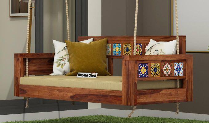 Boho Wooden Swing Chair (Teak Finish)-1