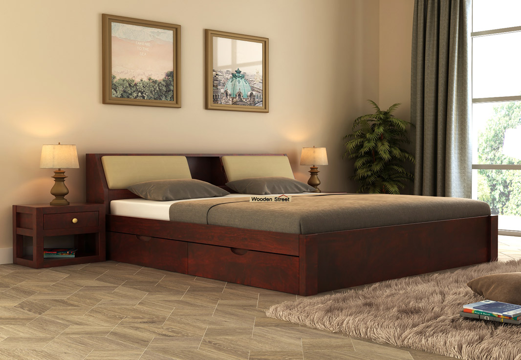 Buy Walken Bed With Storage (King Size, Mahogany Finish) Online in India -  Wooden Street