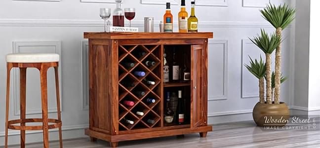 bar cabinet with holder