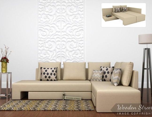 Buy Fabric L-shape Sofa Cum Bed Online in India