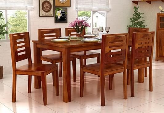 Buy Janet 6 Seater Dining Table Set Honey Finish Online