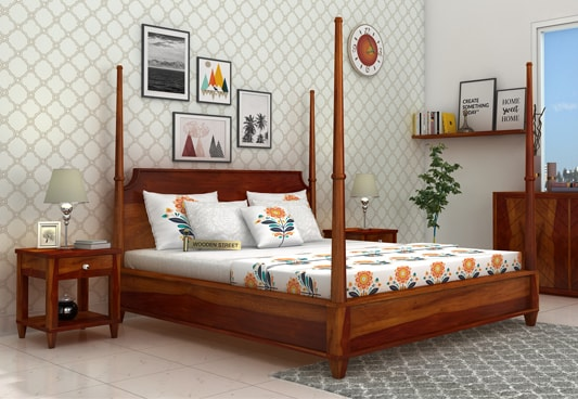 Buy Corsey Poster Bed Without Storage King Size Honey