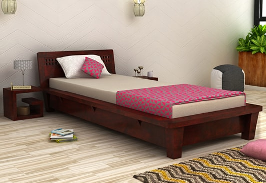 Buy Carden Single Bed Mahogany Finish Online In India