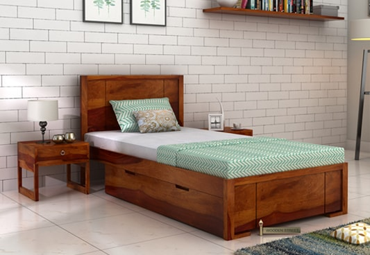 Buy Gary Single Bed With Storage Honey Finish Online In