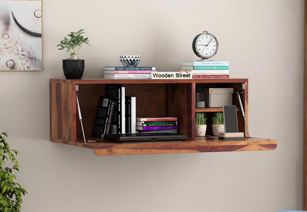 Buy Ace Wall Mounted Study Table Teak Finish Online In