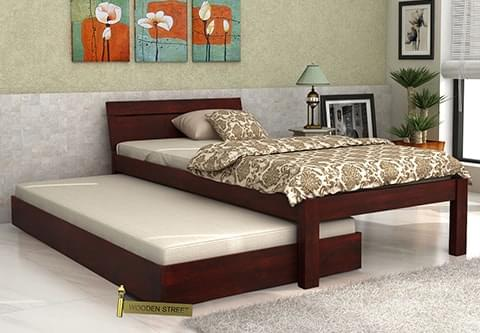 Buy Morenz Trundle Bed Mahogany Finish Online In India