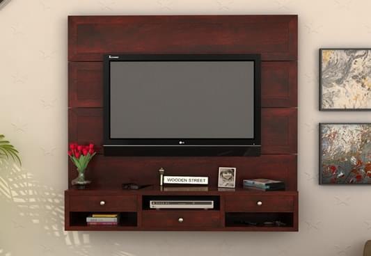 Buy Snapple Wall Mount Tv Unit Mahogany Finish Online In