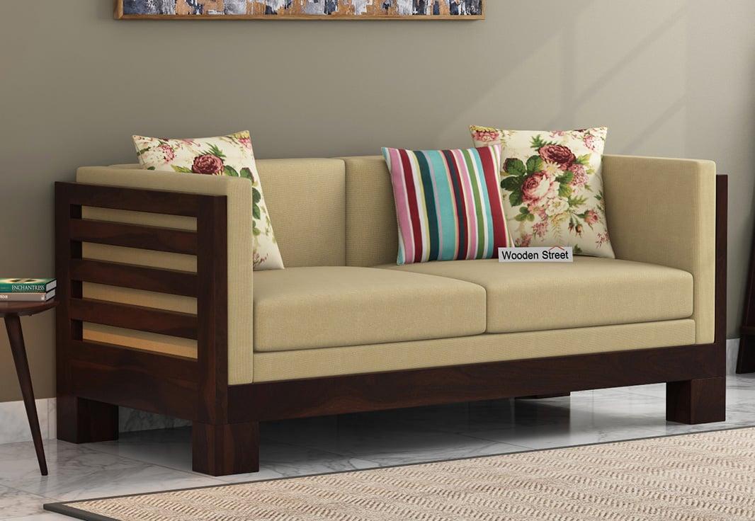 Buy Hizen 2 Seater Wooden Sofa (Walnut Finish) Online in ...