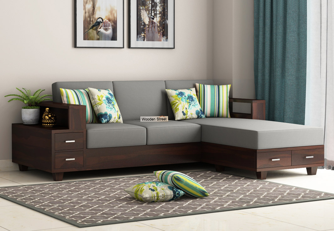 Buy Solace L-Shaped Wooden Sofa (Walnut Finish) Online in ...