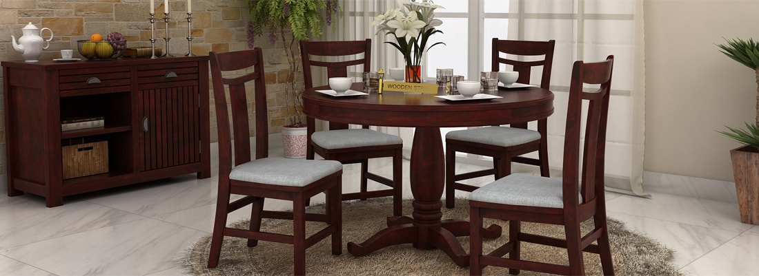 round dining table sets - Wooden Dining Table With Chairs